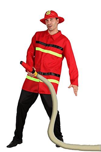Fiori Paolo- Pompiere Costume Adulto, Rosso, Taglia 52-54, 62091