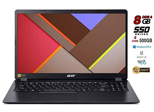 Notebook Acer pc portatile SSD, Intel Quad Core i5 8265 8 Gen fino 3,9 Ghz, RAM 8GB, SSD 480 GB, Display 15.6' Full HD, Svga UHD 620, 3 usb, wi-fi, hdmi, lan Win 10 pro, pronto all'uso