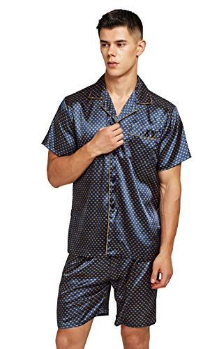 TONY AND CANDICE Men's Short Sleeve Satin Pajama Set with Shorts (Medium, Blue/Golden)