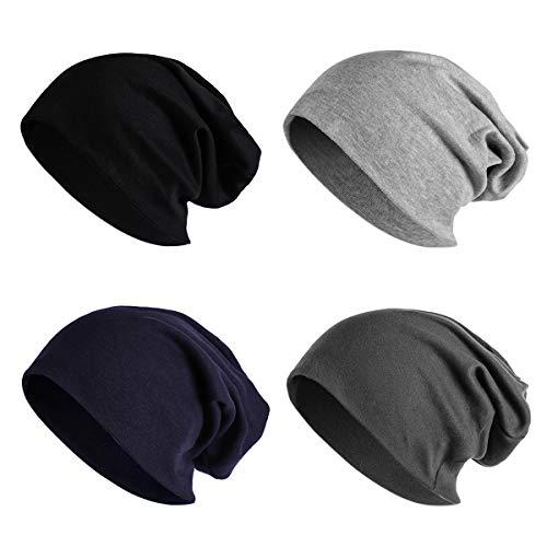JOYEBUY 4 Pack Women Men Stylish Thin Hip-hop Soft Stretch Knit Slouchy Beanie Hat Skull Cap (Style F)