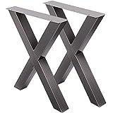 VEVOR Juego de 2 patas de mesa de comedor de metal, patas de mesa industriales con marco X, 28 x 24 Inch, Transparente