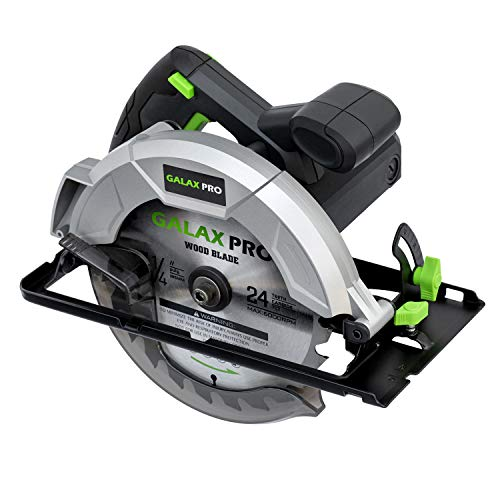 "GALAX PRO 10 A 5800 RPM Hand-Held Circular Saw, Bevel Angle(0 to 45°) Joint Cuts with 7-1/4 Inch Blade, Adjustable Cutting Depth (1-5/8"" to 2-1/2"") for Wood and Logs Cutting-GP76331"