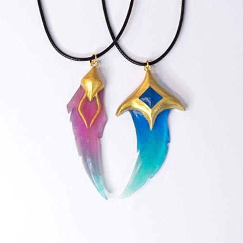 Star Guardian Xayah y Rakan Collares pendientes League of Legends LOL con plumas de medio corazón