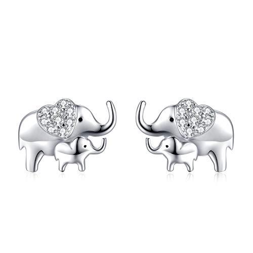 Elephant Earrings for Girl Women Earrings 925 Sterling Silver Lucky Elephants Earrings, Christmas Birthday Gifts for Mother Daughter