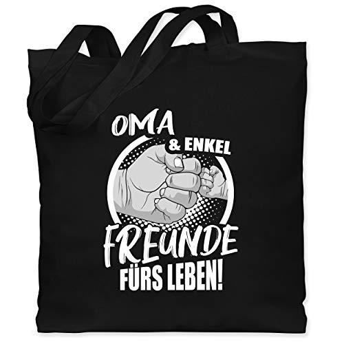 Shirtracer Oma - Oma & Enkel Freunde fürs Leben! - Unisize - Schwarz - enkel geschenke oma - WM101 - Stoffbeutel aus Baumwolle Jutebeutel lange Henkel