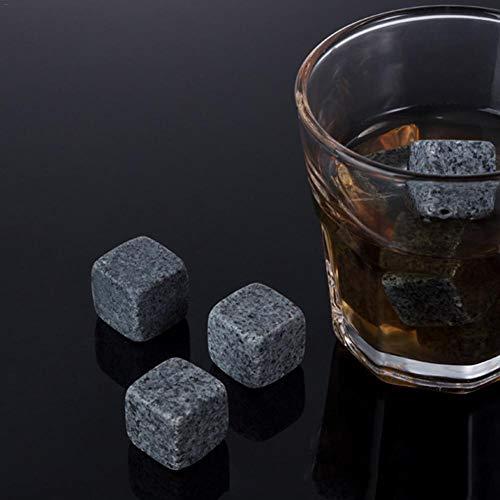 funnyfeng Cristal Set con 8 Cubitos de Hielo Y 2 Vasos de Whisky, Reutilizable Acero Inoxidable Clips para Hielo, Barra Accesorios para Fiesta Fiestas - Gris Granito