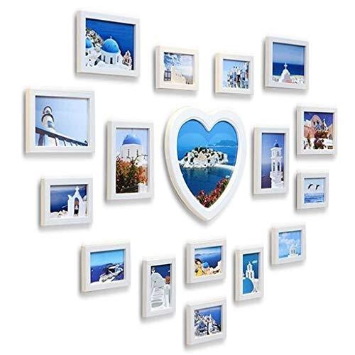 WANGJUNAI foto muur woonkamer foto muur fotolijst combinatie huwelijk liefde hart vorm creatieve muur hangen, 138 * 103CM