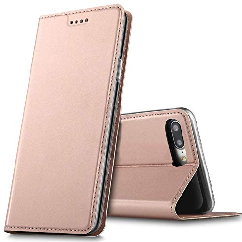 Verco Handyhülle für iPhone 8 Plus, Premium Handy Flip Cover für Apple iPhone 7/8 Plus Hülle [integr. Magnet] Book Hülle PU Leder Tasche (5,5 Zoll), Rosegold