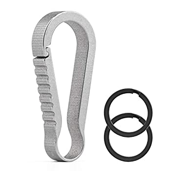 FEGVE Carabiner Keychain Small Carabiner Clip Titanium Quick Release Keychain for Men Women  Gray - 1.4inch / 1 Pack
