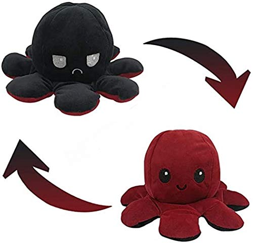 The Original Reversible Octopus Plushie, Polka Dot and Shimmer, Show Your Mood Without Saying a Word! - Black to Red