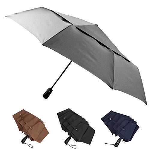 Stonehenge Windproof Travel Umbrella - Big 54 Inch Double Vented Folding Umbrella w/Auto Open and Close Button (Gray)