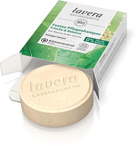 lavera, Festes Pflegeshampoo Frische Balance Shampoo ohne Silikone zertifizierte Naturkosmetik reinigt schnell fettendes Haar gründlich schenkt anhaltende 50g, Weiß, Zitronig/Zitrus, 1 stück