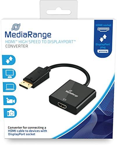 MediaRange HDMITM High Speed naar DisplayPortTM converter, vergulde contacten, HDMI-bus/DP-stekker, 18 Gbit/s gegevensoverdrachtsnelheid, 20cm, zwart