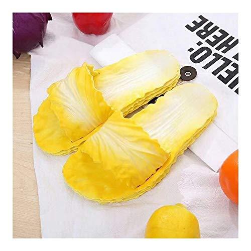 HUAJIANGHU Hausschuhe Art Und Weise Kreativer Kohl Hausschuhe Frauen-Sommer Einfache PVC Fip Fops Weiche Unterseite Tide (Color : Yellow, Size : 39)