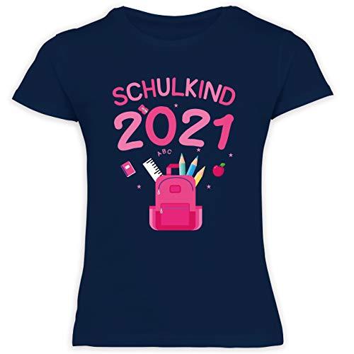 Einschulung und Schulanfang Geschenk - Schulkind 2021 rosa Schultasche - 140 (9/11 Jahre) - Navy Blau - Schultasche mädchen - F131K Schulanfang - Schulanfang Mädchen T-Shirt Kinder