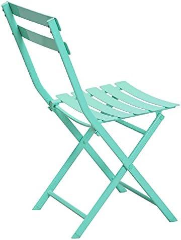 ZGW Mesa plegable de hierro forjado al aire libre y silla paraguas de tres piezas al aire libre patio ocio mesa de centro mesa de comedor Tiffany azul