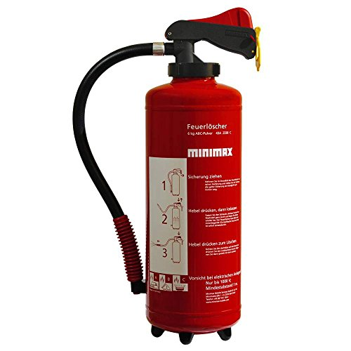 Minimax Pulver-Aufladefeuerlöscher 6 kg | Feuerlöscher 6 Kilo Pulver | Brandklasse A, B und C | EN3 | Made in Germany