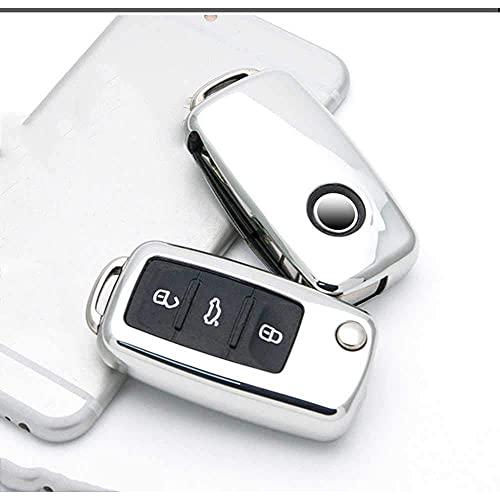 Funda para llave inteligente, carcasa de TPU para llave de coche, para VW Golf Bora Jetta Polo Golf Passat Skoda Octavia A5 Fabia SEAT Ibiza Leon Silver