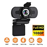 Webcam,Webcam with Microphone,Noise Cancelling 1080P HD 110-Degree View Angle Webcam with Privacy Cover,Plug &...