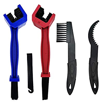 KINMAX 5PCS Bicycle Chain Brush,Motorcycle Mountain Bike Chain Gears Maintenance Cleaning Brush Tool