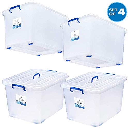 95 Quart Plastic Storage Bins with Lids and Wheels - White Semi-Clear Large Durable Storage Boxes - Stackable Space-Saver Containers - Tough and Secure Organizers for Home, Office, School - Set of 4