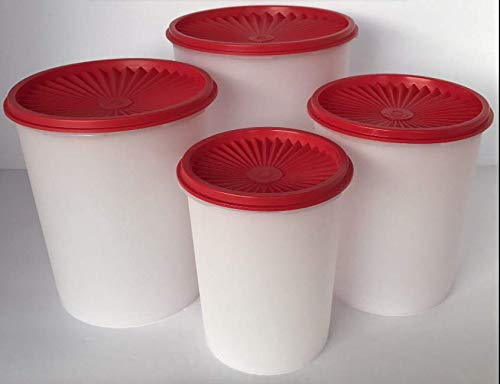 Best Prices! Tupperware Servalier Classic Canister Set of 4 Red Seal