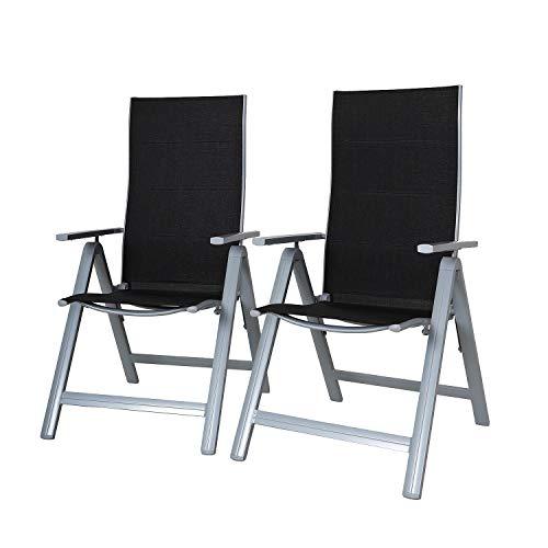 Chicreat - Juego de 2 sillas plegables regulables con 9 posiciones y respaldo alto (negro y plateado)