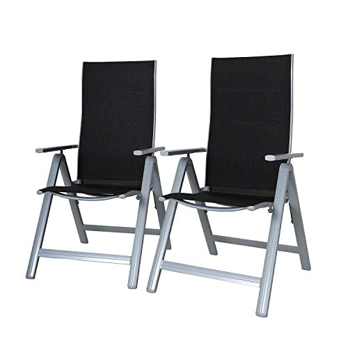Chicreat 9-Way Adjustable High-Back Folding Chairs, Set of 2, Black/Silver