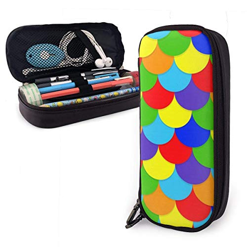 Colored Scale PU Leather Pencil Case,Durable Students Stationery Organizers with Double Zipper for School Office 1.5inx3.5x8 in