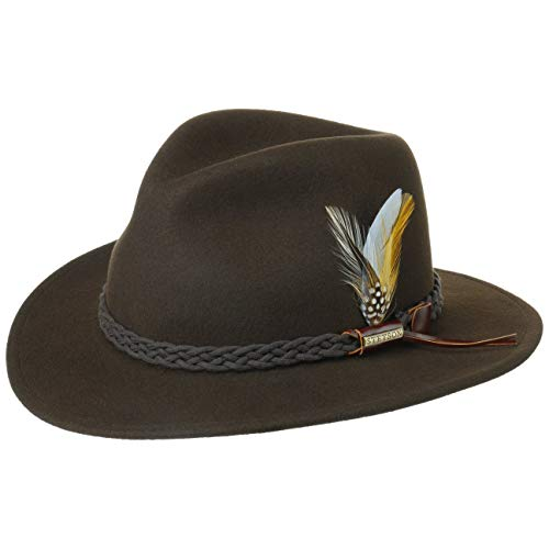 Stetson Cappello Newark VitaFelt Outdoor Donna/Uomo - Made in USA da Pioggia Uomo Feltro di Lana con Fascia Pelle Estate/Inverno - XL (60-61 cm) Marrone