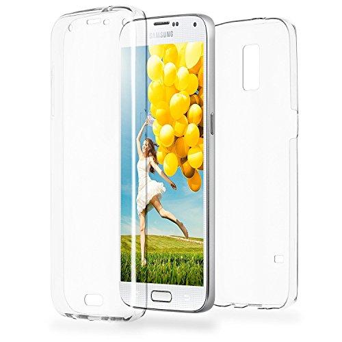 COPHONE® kompatibel Samsung Galaxy S5 Hülle Silikon 360 Grad transparent. Integraler und unsichtbarer Durchsichtige Schutz Galaxy S5 Handyhülle