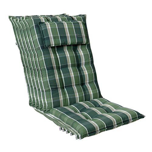 Homeoutfit24 Sun Garden Sylt - Cojín para silla de jardín (6 unidades, 120 x 50 x 9 cm), respaldo alto con reposacabezas extraíble, color verde y gris