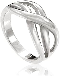 Chuvora 925 Sterling Silver Double Infinity Together Forever Ring - Nickel Free