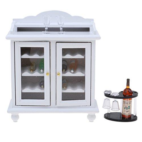 HomeDecTime Casa de Muñecas Europea 1/12, Gabinete de Vino de Madera en Miniatura con Botellas de Vino, Juego de Tazas, Decoración para El Comedor
