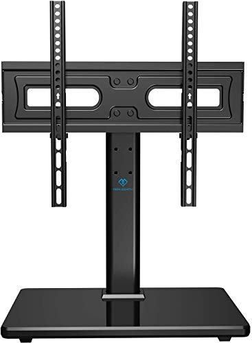 PERLESMITH Universal Swivel TV Stand-Table Top TV Stand for 32-55 lnch TV-Height Adjustable TV Base with Heavy-Duty Tempered Glass Base, VESA 400x400