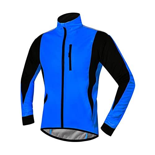 TDHLW Chaqueta de Ciclismo Hombre Mujer Invierno TéRmica a Prueba de Viento Chaqueta Impermeable Chaqueta Reflectante Softshell Abrigo Calentamiento Forro Polar Transpirable Ropa de Abrigo,Azul,M