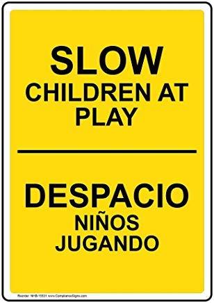Wendana Verticale Langzame Kinderen bij Spelen - Despacio Ni?os Jugando Sign, Grappige Wanring Signs, Poortteken, Vandaar Yard Sign,8