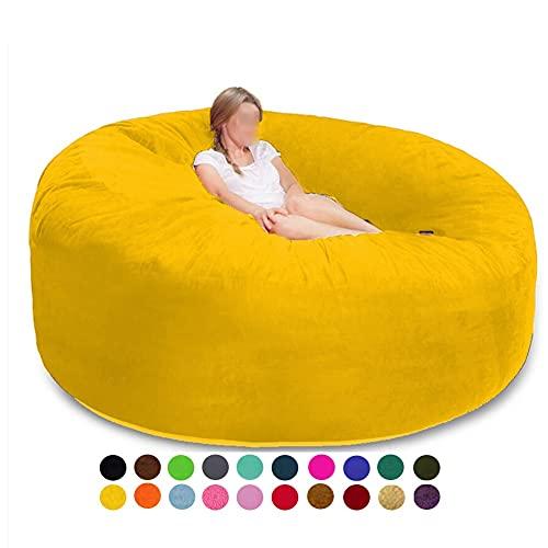 Puf Gigante Silla 7 pies puf sillas Cama Tatami Costuras Dobles Forro Interior Duradero (Solo Cubierta) (Color : Bright Yellow)