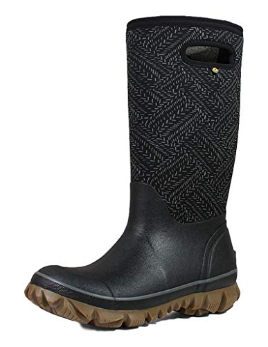 BOGS Women's Whiteout Waterproof Insulated Winter Rain Boot, Fleck Print -Black Multi, 9