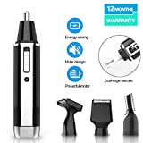 Ear and Nose Hair Trimmer Clipper for Men Women, 4 in 1 USB Rechargeable Professional Electric Eyebrow and Facial Hair Trimmer with Waterproof Head Double-Edge Stainless Steel Blade (Black)