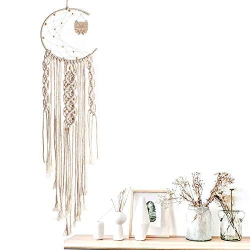 Ritte Macramé Colgar Pared Tapiz, Tapiz Tejido Algodón Natural, Bohemia Style Woven Wall Hanging para Decoración de Pared de Fondo, Decoración del Hogar, Decoración de Bodas(Luna)