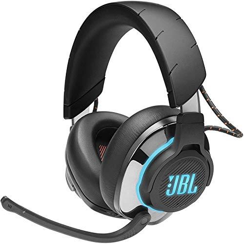 JBL Quantum 800 Auriculares inalámbricos para gamers con micrófono y RGB, tecnología de virtualización surround, reproducción DTS, cancelación de ruido, compatible con PC y consola, color negro