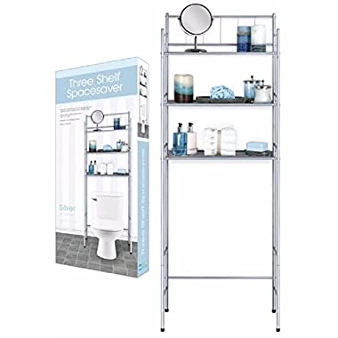 3 Shelf Over The Toilet Spacesaver Easy to Assemble (Silver)