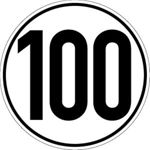 Sticker snelheidsschild, 100 km/h, folie, Ø 20 cm