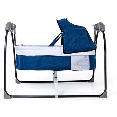 YX Baby Swings, Rocking Chair pour bébé Baby Rocker électrique léger 5 vitesses et 3 minuteries avec oreillers et télécommande Easy Care, 60X90X72CM Baby Toddler Sleeping Rocker Cot