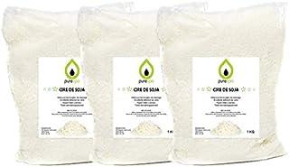 Cire de soja Blanc Naturel écologique 3 kg en Flocons- PURESPA, Cire Premium pour fabriquer Bougies et Bougies de Massage,...