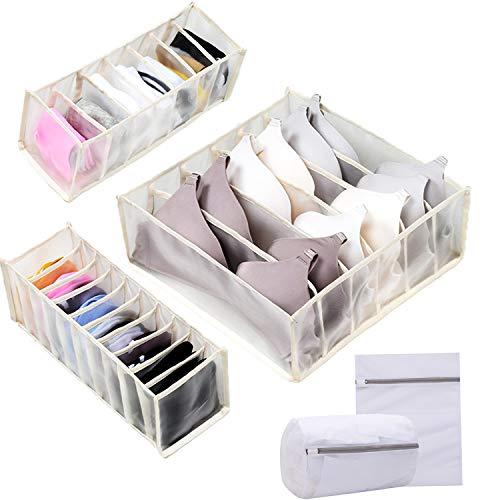 3 cajas de almacenamiento beige para sujetadores, calcetines, bragas, cajas de almacenamiento de tela plegables, divisores de armario, para ropa interior, calcetines, corbatas, bufandas y pañuelos.