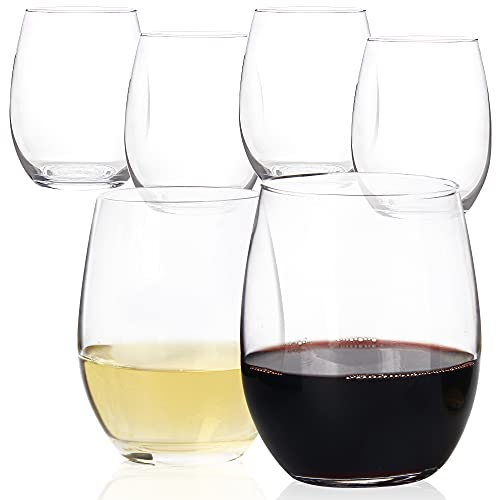 20oz Stemless Wine Glasses Set of 6, Large Wine Cup For Enhanced Aeration, Red or White Wine Tumbler Bulk, Lead-free