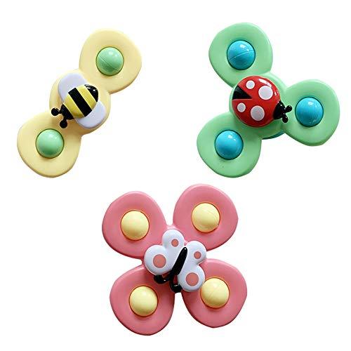 Zzx 3 stücke cartoon sauger baby spielzeug glücklich baby spielzeug spinning zappeln abs insekt gyro spielzeug säugling kinder baby spielzeug pädagogisch fingertip geschenke relief stress spinner spie