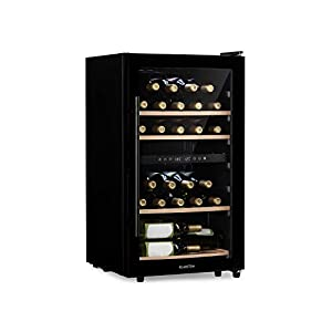 KLARSTEIN Barossa - Cave à vin, Température réglable entre 5 et 18 °C, Éclairage intérieur LED, Pieds réglables en hauteur, Entretien facile, Clayettes en bois - 34 bouteilles, Noir